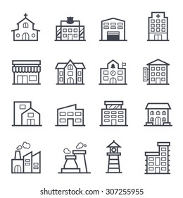 Building Icon Bold Stroke  on White Background