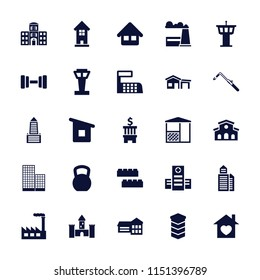 Building icon. collection of 25 building filled icons such as airport tower, blowtorch, school, hospital, home with heart, home. editable building icons for web and mobile.