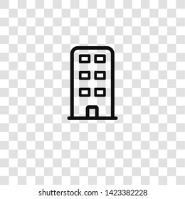 building icon from office equipment collection for mobile concept and web apps icon. Transparent outline, thin line building icon for website design and mobile, app development
