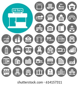 building icon. set of 40 building filled icons such as hospital, Hotels, bank, School Vector illustration black sign.