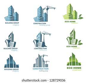 Building icon set. Abstract architecture