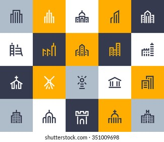 Building icon set. Flat series
