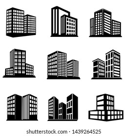 Building icon set vector, collection symbol of apartment, Hotel, skyscraper in black color and white background