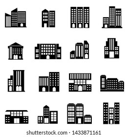 Building Icon set vector, illustration real estate symbol modern design in black colour and white background, ready for web and print