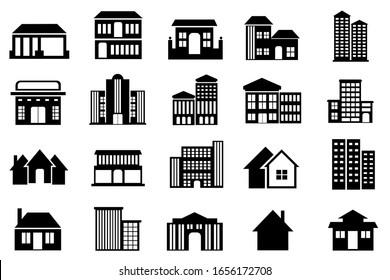 Building icon set vector, Illustration of real estate black white color