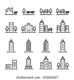 building icon set.line vector.