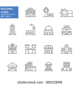 Building icons, set 1 of 2.