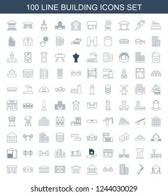building icons. Set of 100 line building icons included cargo barn, blowtorch, bridge, bank, garage, sliding doors on white background. Editable building icons for web, mobile and infographics.