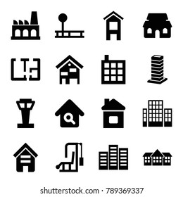Building icons. set of 16 editable filled building icons such as airport tower, fintess equipment, gym equipment, home search, factory, plan, business center, home