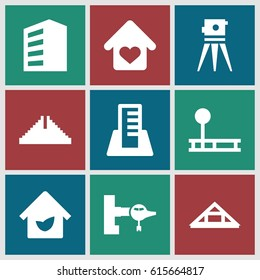 Building icons set. set of 9 building filled icons such as jetway, building, Chichen Itza, Louvre, theodolite, love home, eco house