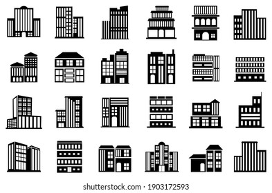 Building Icons set. collection of building symbol illustration design. apartment, Hotel, Hospital,  skyscraper and more. editable. vector
