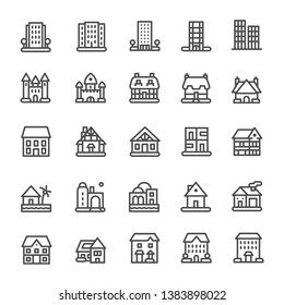 Building Icons Set Ilustration Vector