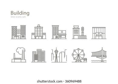 Building icons set. Line art. Stock vector.