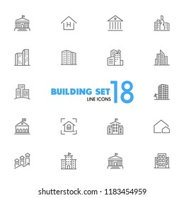 Building icons. Set of  line icons. Skyscraper, hotel, cityscape. Housing development concept. Vector illustration can be used for topics like mortgage, construction, architecture