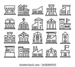 building icons set line vector