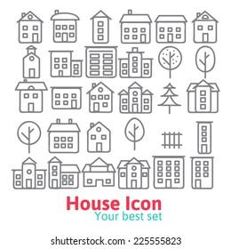 Building icons set.  Line vector illustration eps 10