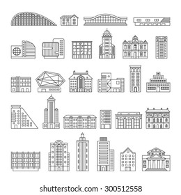Building Icons Set. Linear style. Vector illustration.