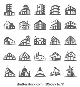 Building icons set in trendy flat style isolated on white background. Symbol for your web site design, logo, app, UI. Vector illustration, EPS