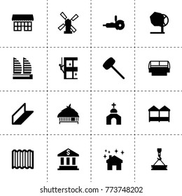 Building icons. vector collection filled building icons. includes symbols such as windmill, bank, skycrapers cleaning, house clean, roof. use for web, mobile and ui design.