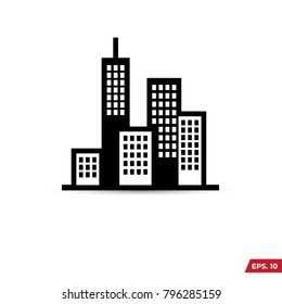 Building illustration black an white vector icon isolated on white background