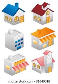 building illustrations set