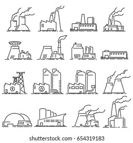 Building Industrial Factory outline icons vector.