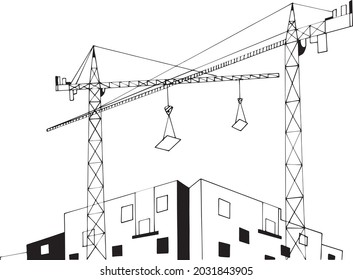 Building industry black and white vector illustration