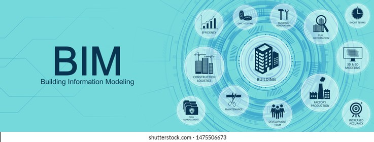 Building Information Modeling (BIM) concept web banner with Key aspects of the BIM industry with icons on a nice blue background. Web site vector illustration