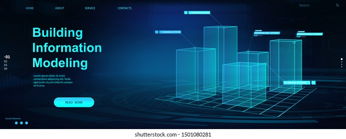 Building Information Modeling concept. Bim web page banner.  Vector illustration concept with models buildings. The concept of business. Industry construction, from start to finish. Bim vector banner