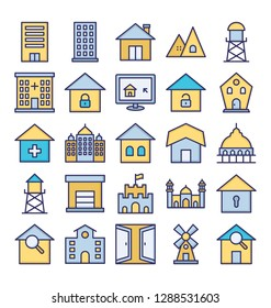 Building Isolated Vector Icons set that can be easily modified or edit.