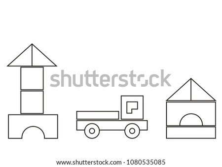 Building Kit Basic Shapes Coloring Book Stock Vector (Royalty Free ...
