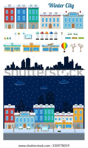 Winter City Streets Clip Art