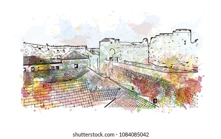 Building landmark with street view of Dubrovnik, City in Croatia. Watercolor splash with hand drawn sketch illustration in vector.