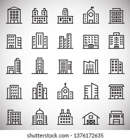 Building line icons set on white background for graphic and web design. Simple vector sign. Internet concept symbol for website button or mobile app