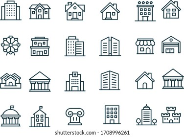 Building Line Icons vector design black and white