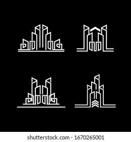 building line logo collection. real estate monogram concept design