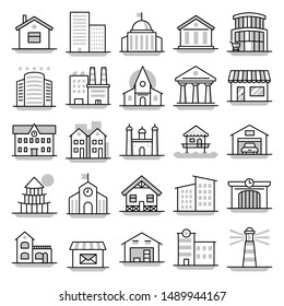 Building - line vector icon set