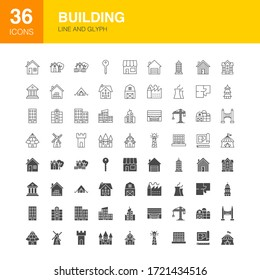 Building Line Web Glyph Icons. Vector Illustration of House Outline and Solid Symbols.