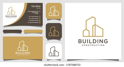 building logo design with line art style. city building abstract For Logo Design Inspiration and business card design