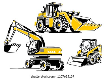 Building Machines Set - Bulldozer, Bager-Excavator, Mini bager. Hand drawn vector illustration. Images can be resized without losing quality.