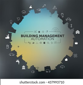 Building Management Automation Concept on Grey Blurred Background