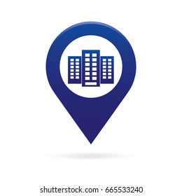 building map pointer icon marker GPS location flag symbol