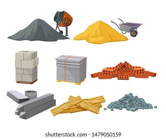 Building material heaps set. Bricks, sand, wooden planks, concrete mixer. Construction concept. Vector illustrations can be used for construction sites, works, industry