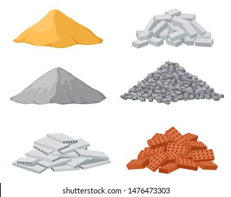 Building material piles. Red and lime brick, cement heaps. Gravel pile and reinforced concrete slabs isolated vector set. Industrial pile brick, block and sand and stone illustration