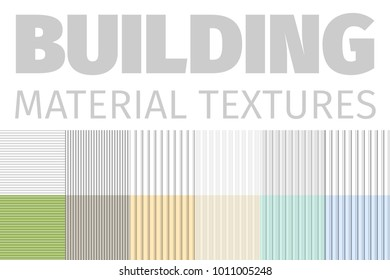 Building Material Textures Set Of Patterns Vector Illustration. Decorative Striped Textured Elements Collection On White Background. Construction Structures And Surfaces textures For Floor Or Walls.