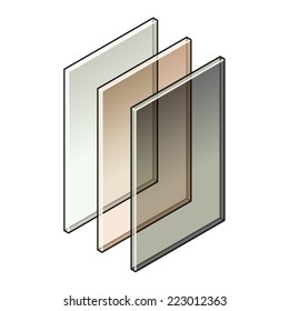 Building material: Three sheets of tinted glass.