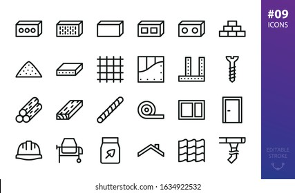 Building materials icons set. Set of construction cement block, silicate brick, drywall, lumber, timber, rebar, insulation roll, sand, gravel, concrete mixer machine, gutter system, corner bead icon