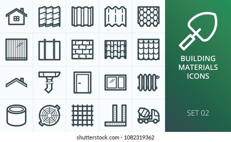Building materials icons set. Set of home, roof, roof materials, door, window, radiator, roof drain icons.
