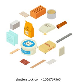 Building materials icons set. Isometric illustration of 16 building materials vector icons for web