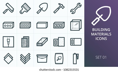 Building materials icons set. Set of building tools, construction blocks and bricks, drywall, cement, sealant glue, stone wool icons.